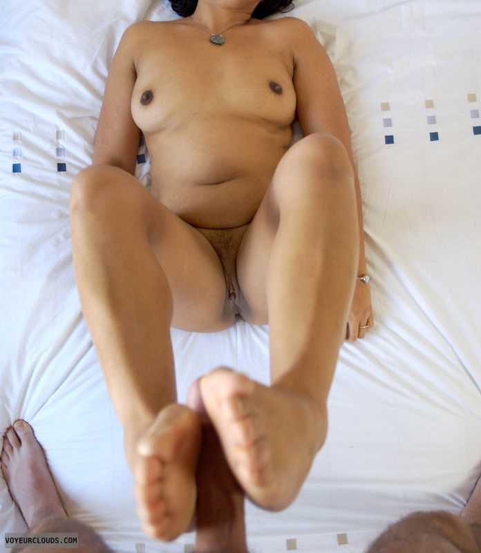 small tits, dark nipples, shaved pussy, wife footjob