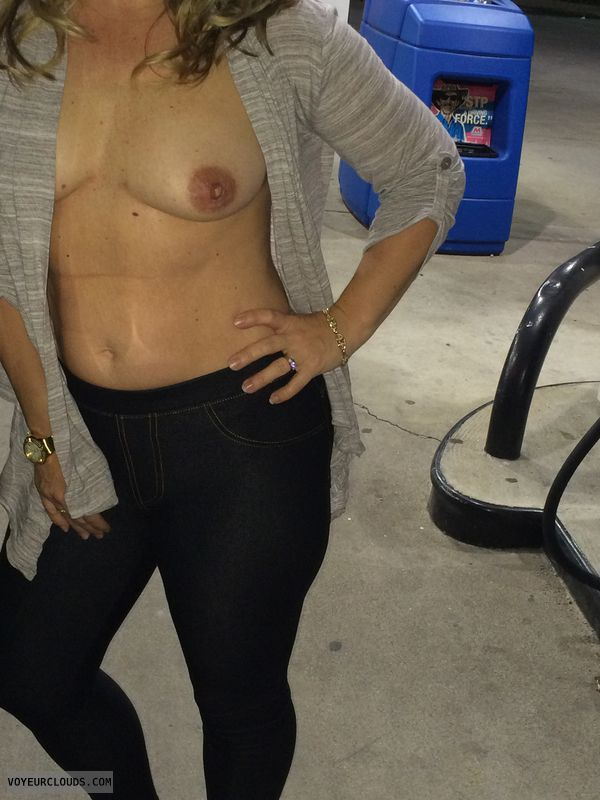 wife nipples, flashing, gas station, blonde, slut
