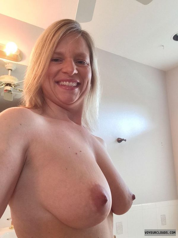 wife tits, wife nipples, blonde milf, smile, hard nipples