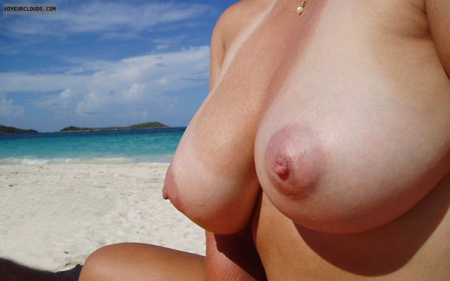 wife tits, topless wife, cleavage, tanlines, topless beach