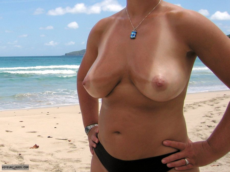 wife tits, topless wife, cleavage, tanlines, topless beach  public nudity