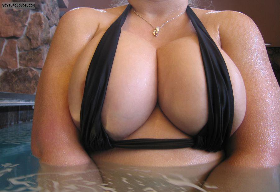 wife tits, big boobies, small bikini, sexy cleavage