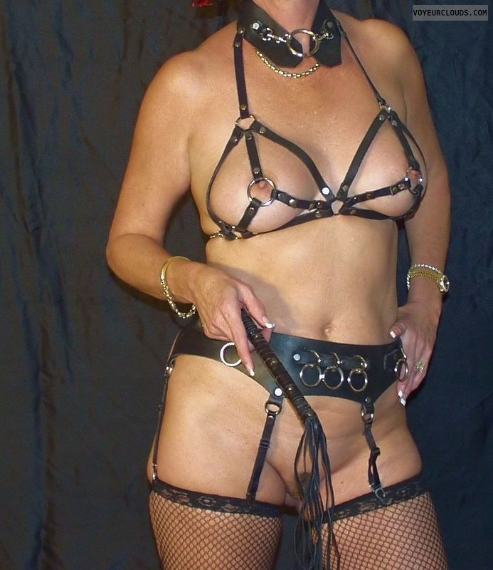 whips, leather lingerie, big boobs, hard nipples, fetish