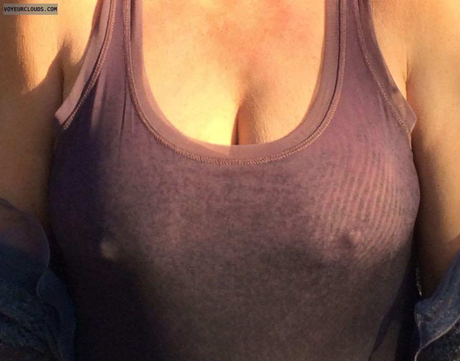 sexy wife, pokies, hard nipples, thick nipples, big tits