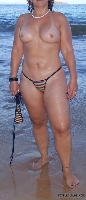 topless milf, thong bikini, small tits, topless wife