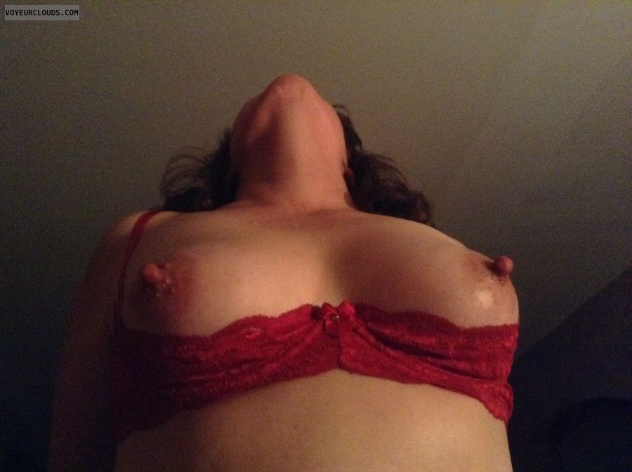 small tits, small boobs, hard nipples, shelf bra, red bra