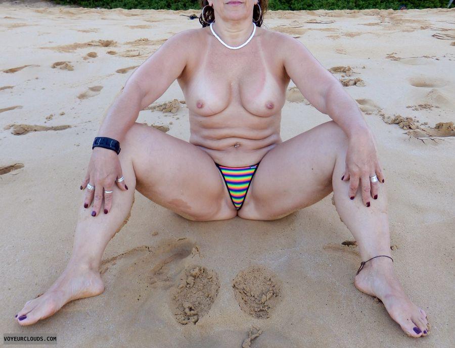 topless wife, beach, milf tits, string bikini, wife tits