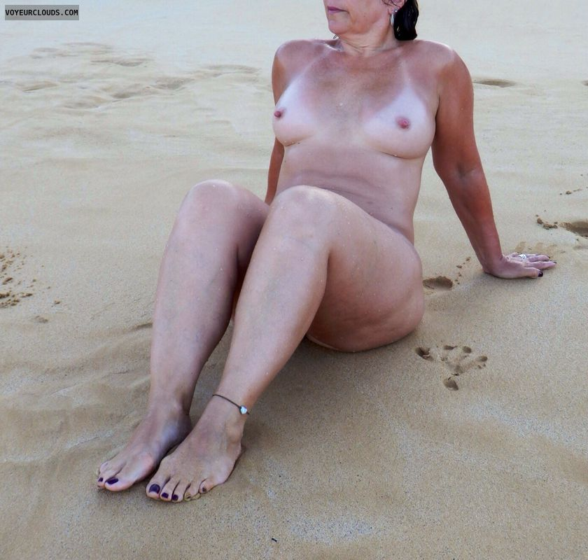 nude wife, nude milf, beach pic, small tits, topless wife