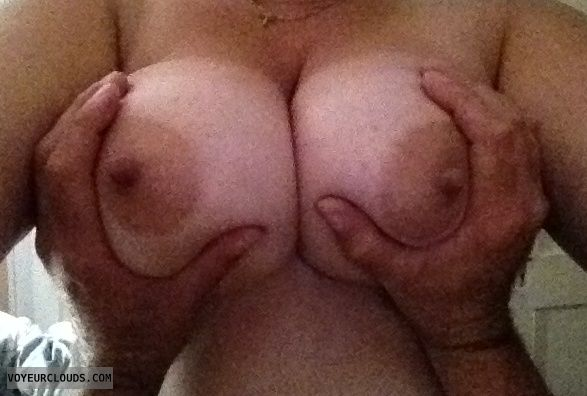 big tits, big boobs, hard nipples, hand bra, milf tits