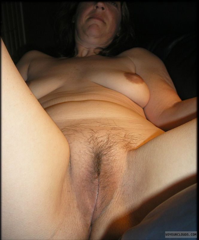 sexy wife, open legs, trimmed pussy, small tits, dark nipples