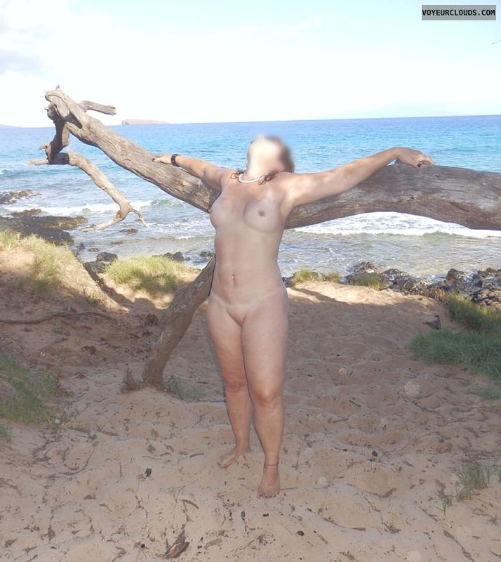 sexy wife, nude milf, beach pic, shaved pussy, small tits