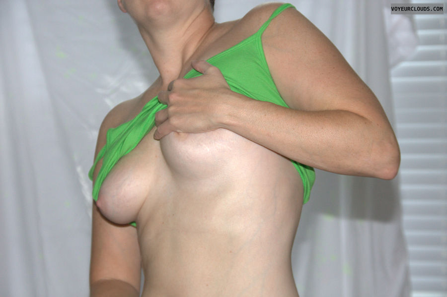 sexy milf, selfie, pink nipples, handbra, tits out