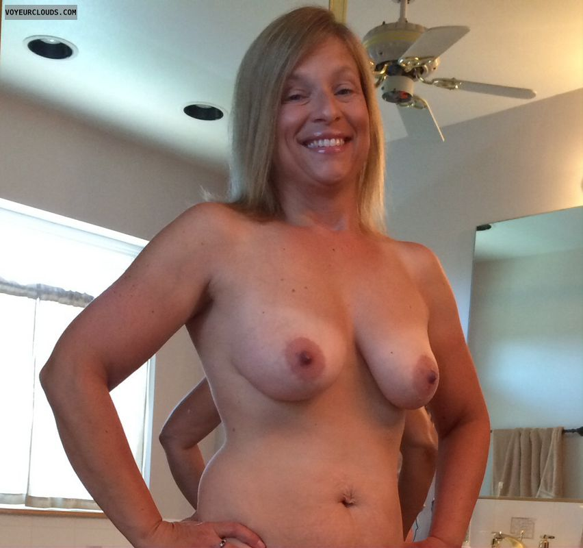 sexy wife, blonde milf, small boobs, small tits, tits tanlines