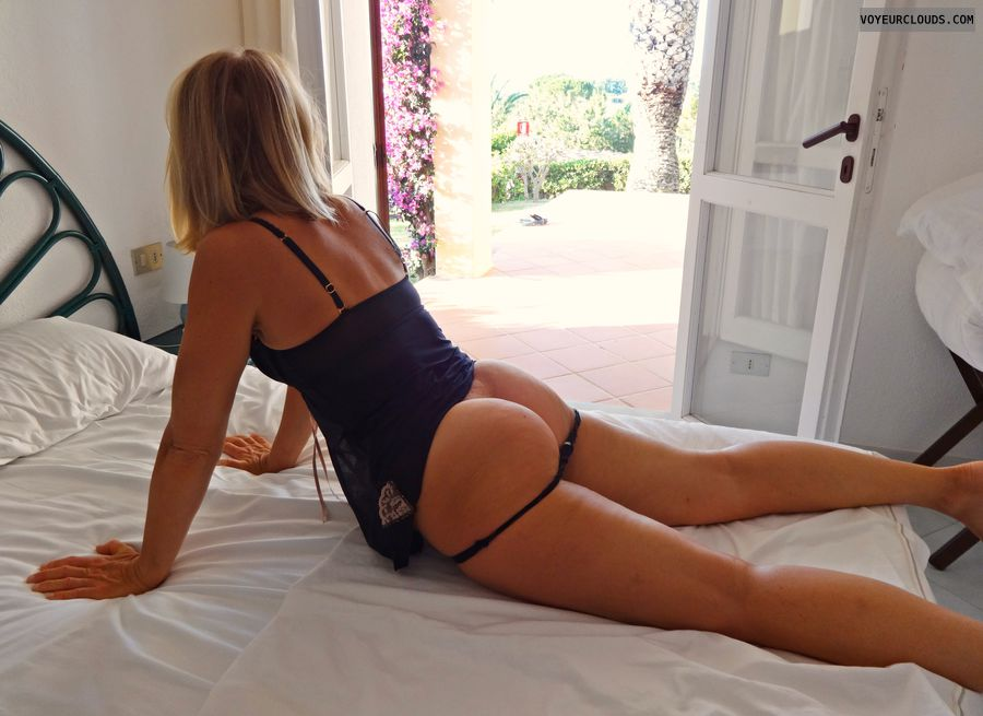 sexy wife, hot ass, black thong, sexy blonde