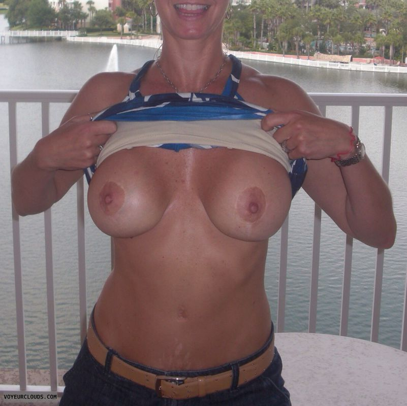 big tits, big boobs, hard nipples, braless, flashing tits