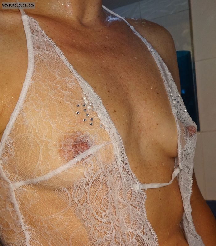 sexy wife, hard nipples, small titties, stiff, white lace