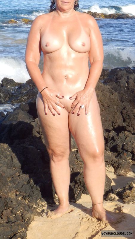 topless wife, nude wife, nude milf, smooth pussy, oil