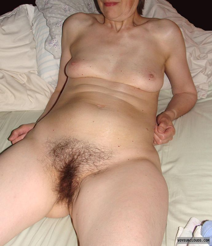 naked wife, hairy pussy, sexy, small tits, bed, mature wife