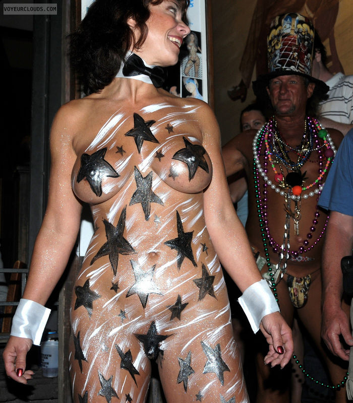 fantasy fest, nude women, body paint, boobs, tits