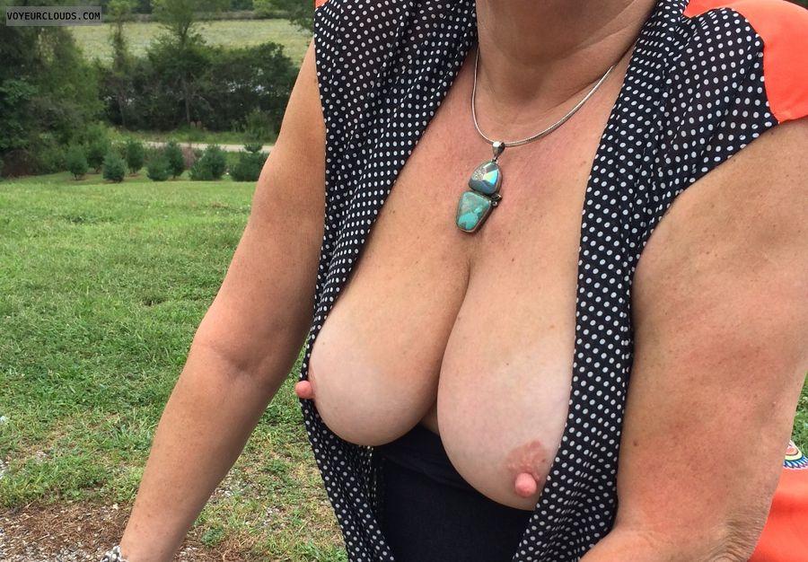 wife tits, mature tits, hard nipples, mature, pink nipples