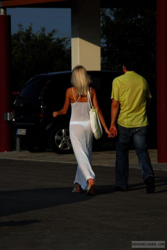 street voyeur, transparent dress