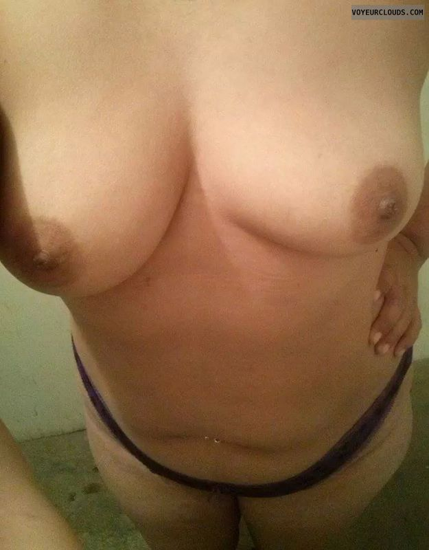 small boobs, selfie, topless, hard nipples, dark nipples