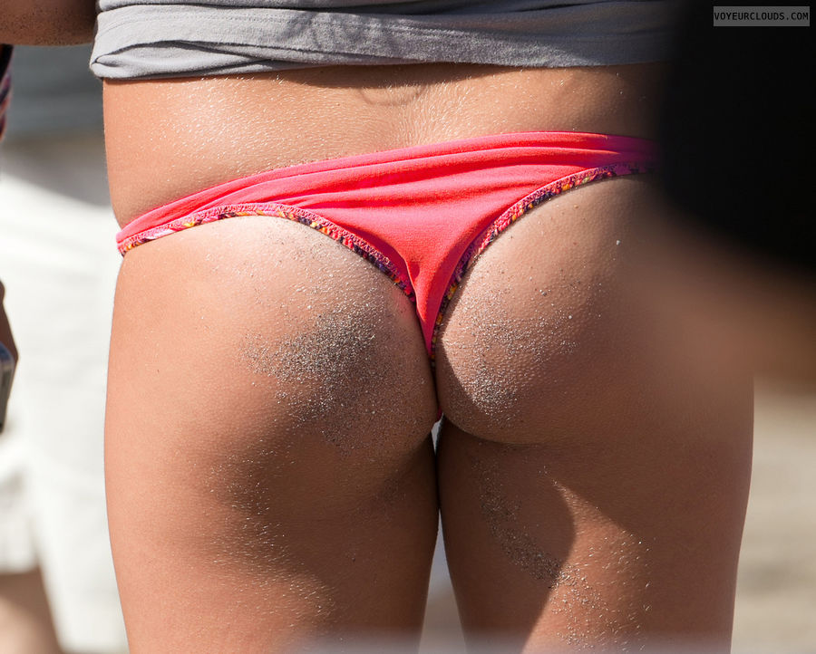 beach voyeur, sexy ass, sandy butt, bikini thong, firm butt