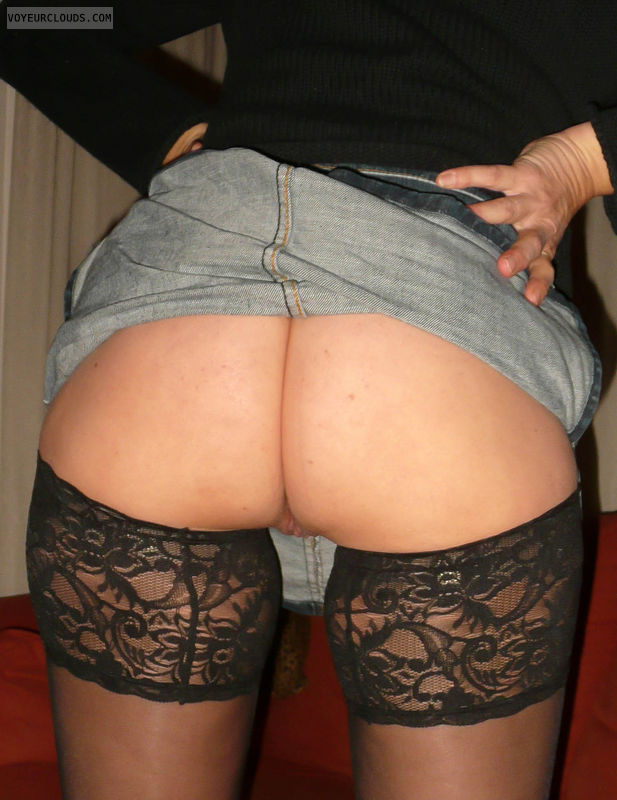 milf butt, bare butt, black stockings, pussy peek