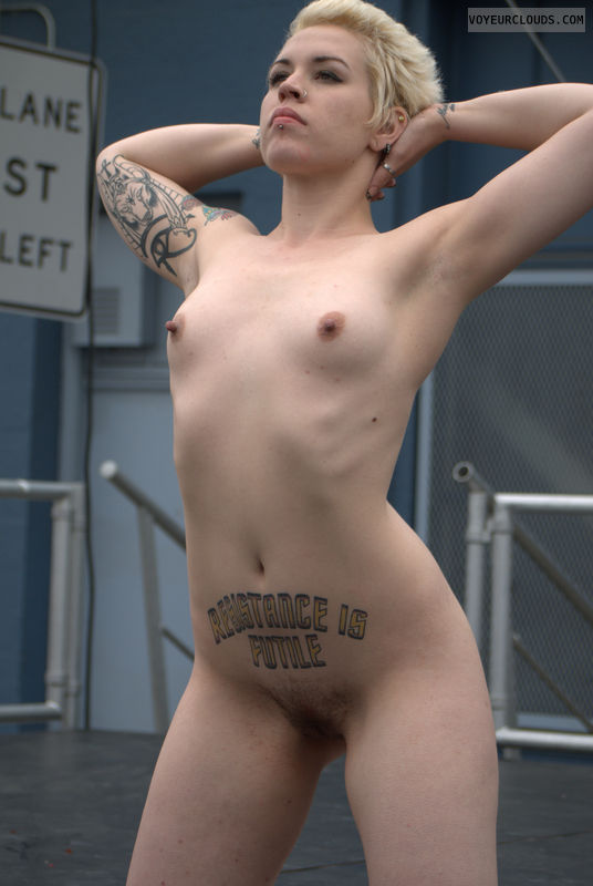 Folsom Street Fair, public, stage, nude, art, small tits