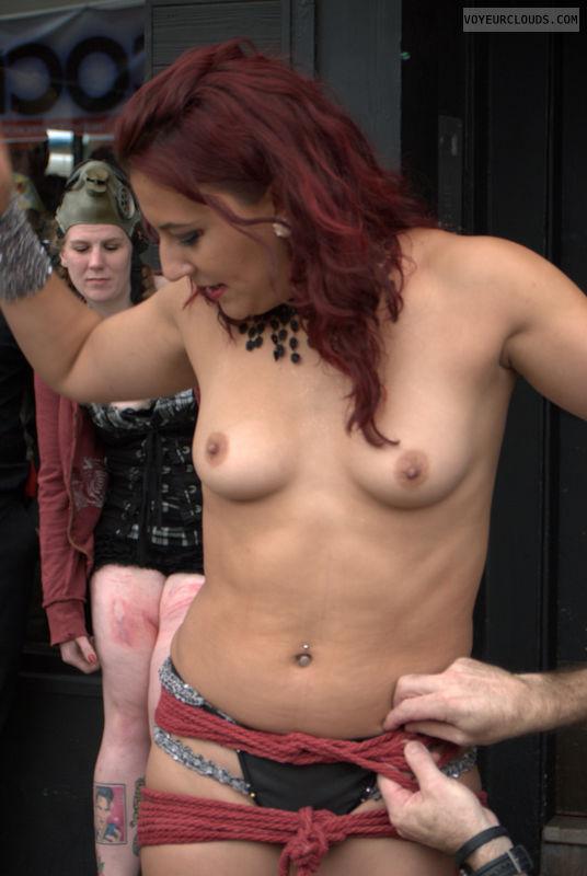 Folsom Street Fair, rope, topless, public, bondage