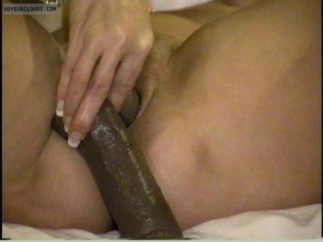 shaved pussy, big dildo, sex toy, pussy penetration