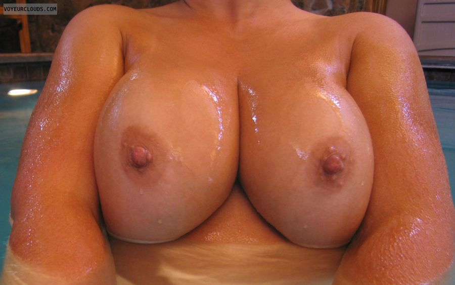 big boobies, hard nipples, Cold Nipples, Public Pool