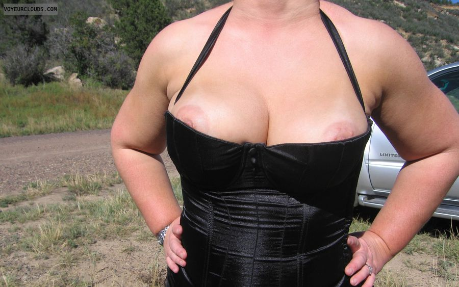 Boobies, Cleavage, Outdoor Nudity, Nipple Peek, wife tits