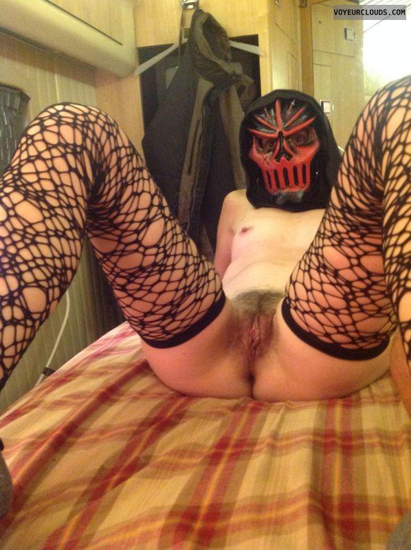 Sexy halloween, long legs, milf pussy, open legs, stockings