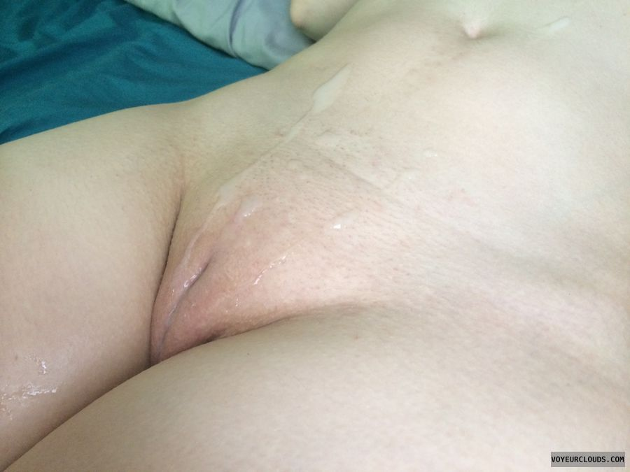 New Cum shot over pussy that stud?