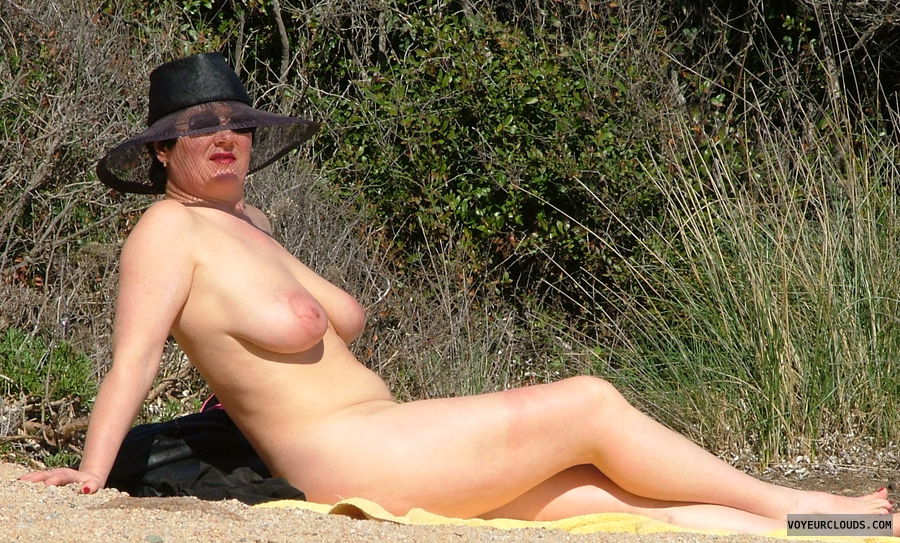 nude milf, big boobs, nude with hat
