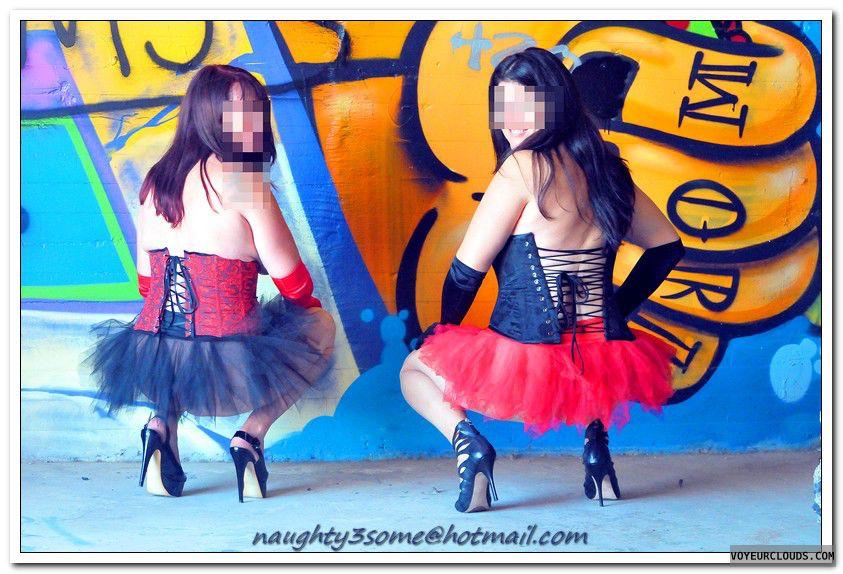 graffiti, two girls, high heels, brunette, corset