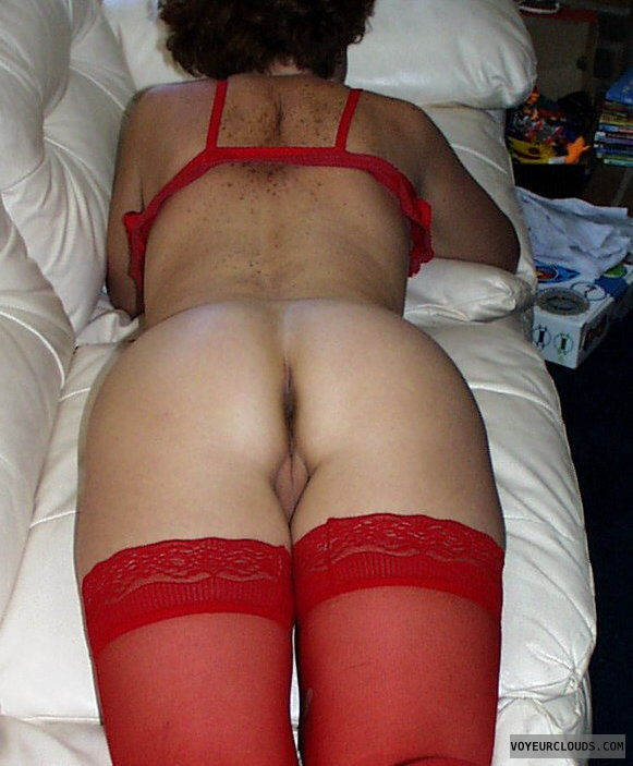 wife ass, freckles, red stockings, asshole view, bottomless