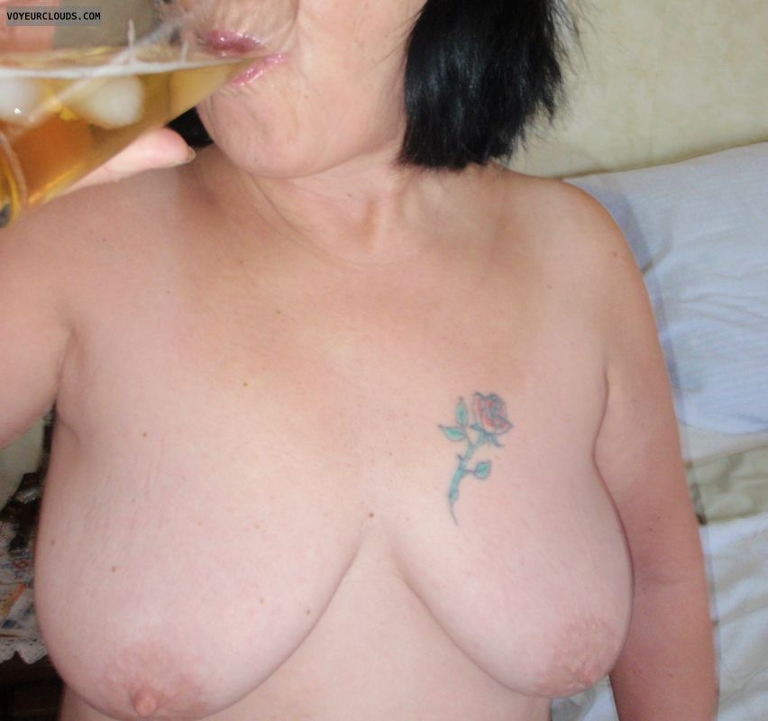 tits, nipples, tatoo, beverage