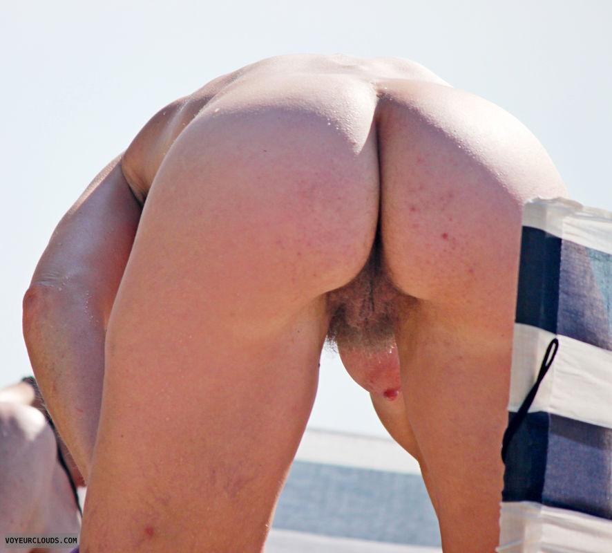 beach voyeur, beach, nude, ass, hairy pussy, beach ass