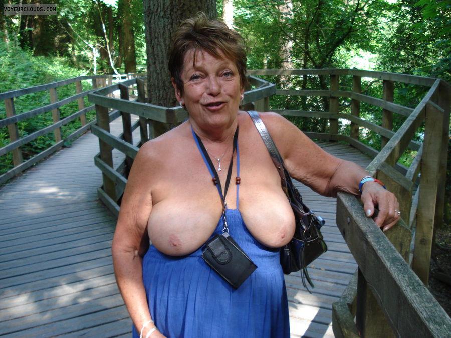 Flashing big mature tits