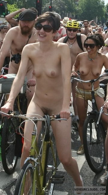 street voyeur, nude biking, exposed, nude in public