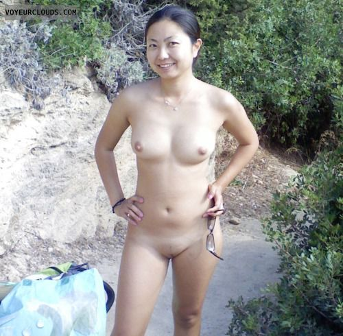 asian, pussy, shaved, firm boobs, nudist, smile