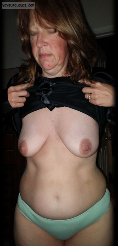 wife tits, topless wife, small tits, dark nipples