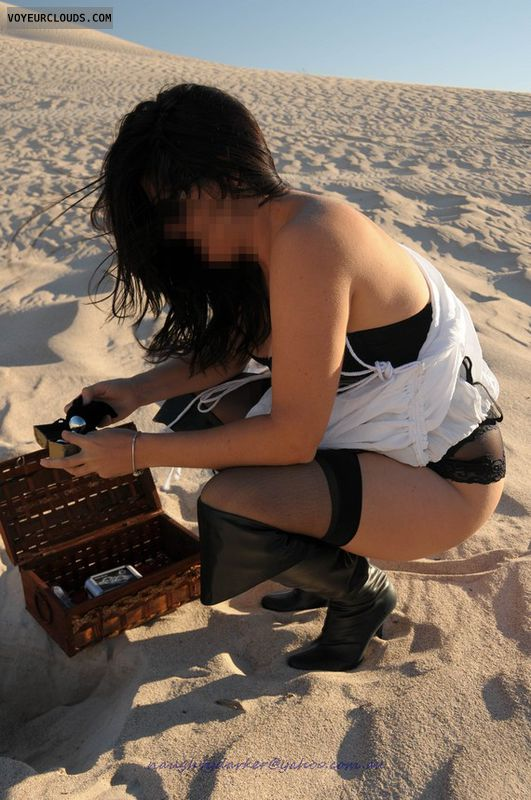 pirate, toysblack, stocking, costume, butt plug, outdoors