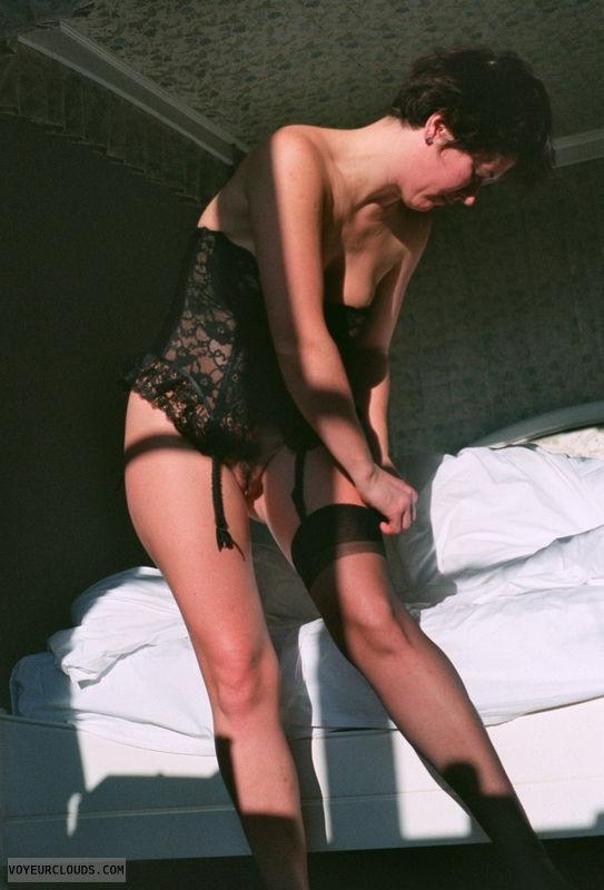 corsett, original nylons, long legs, pussy peek, sexy lingerie