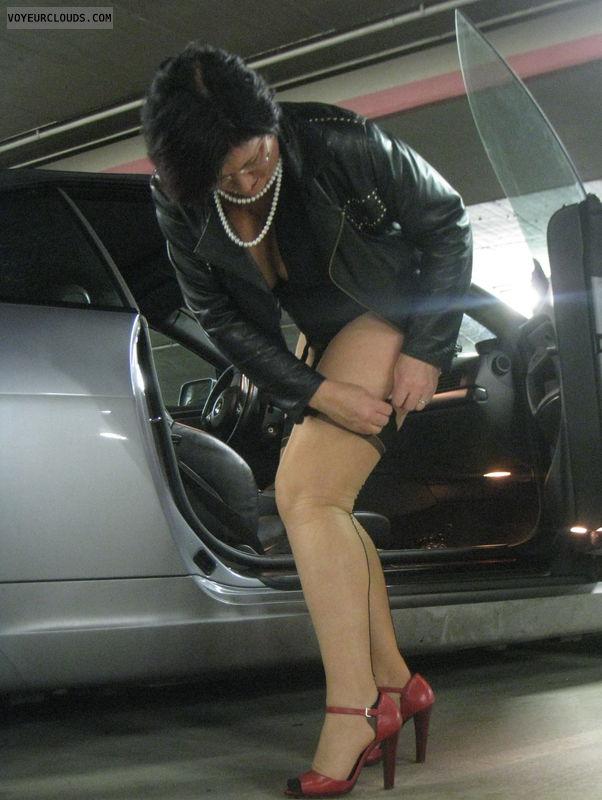 original nylons, public parking, erotic at public places