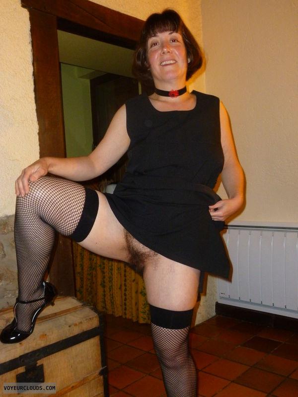 SweetClaire, teasing milf, fishnet stockings, bush