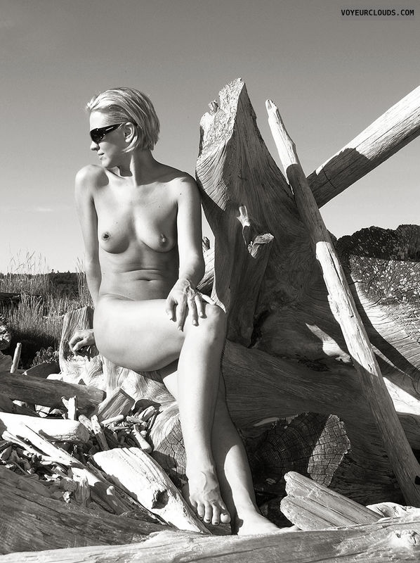 wife, cindy, blonde, beach, niples, skin, black and white