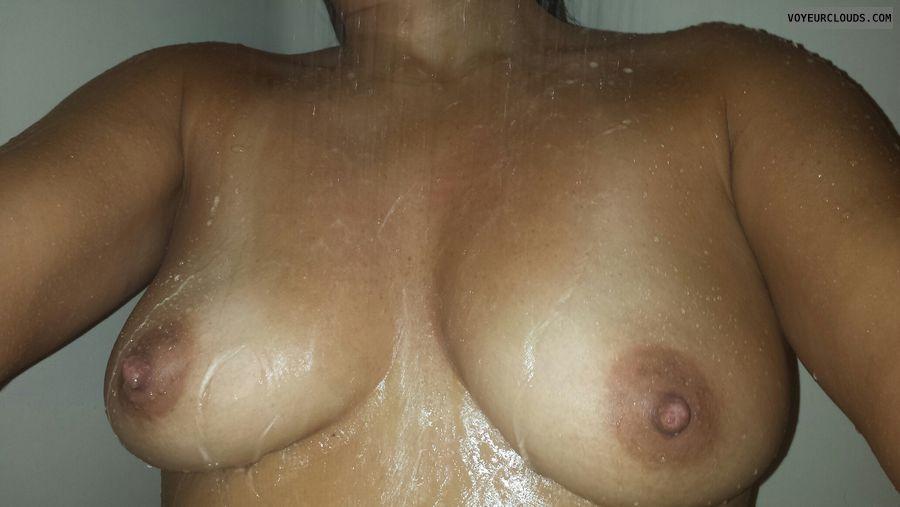 mediu mtits, hard nipples, shower pic